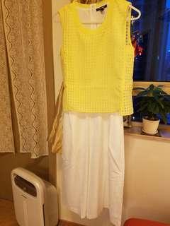 tout a coup 黃色白色連身褲 7分褲 jumpsuits