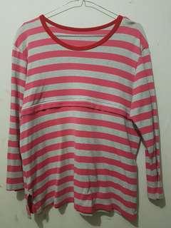 Kaos lengan panjang wanita bigsize Big Size Stipes Stripe Garis Pink