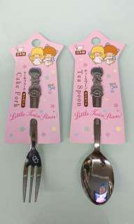 日本製 🇯🇵 Little Twin Stars 匙羹叉套裝  spoon and fork