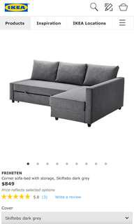 Ikea Friheten corner sofa bed with storage
