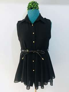 Black Chiffon Collared Top
