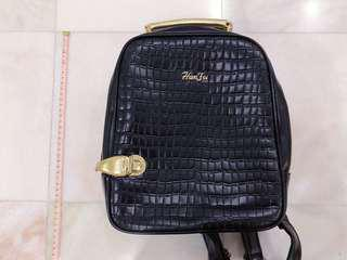 [2nd Item @ 50%] Cute vegan leather backpack with gold accents (black)