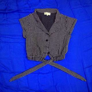[2nd Item @ 50%] Megagamie Checked Cropped Top