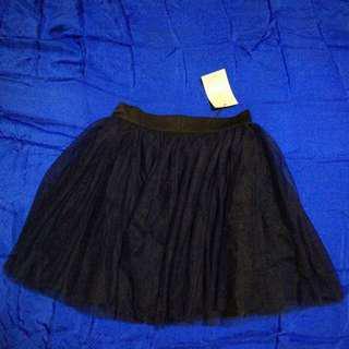 [2nd Item @ 50%] Agneselle Dark Blue Pom Pom Chiffon Skirt