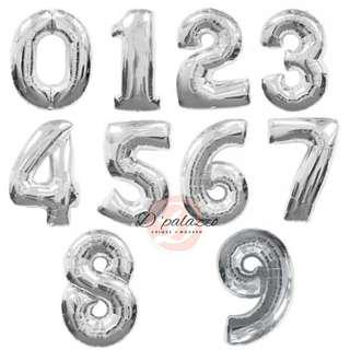 32 inch Silver 0-9 Numbers Foil Balloon Anniversary Birthday Party Decoration