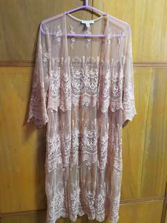 AEO lace old rose/peach blazer/cover up