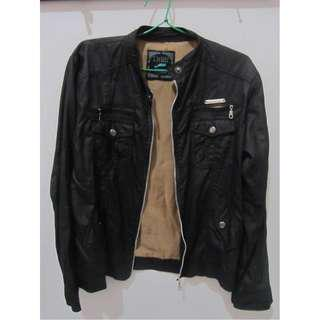 Jaket Hitam Faux Leather (Outer)