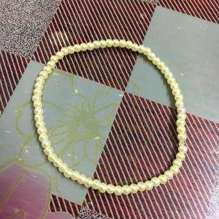 (免費-藍田取) 淺黃色串珠彈性手鏈 襯衫配件