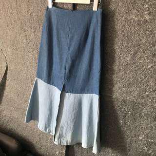 🚚 正韓 單寧拼色魚尾裙 半身裙