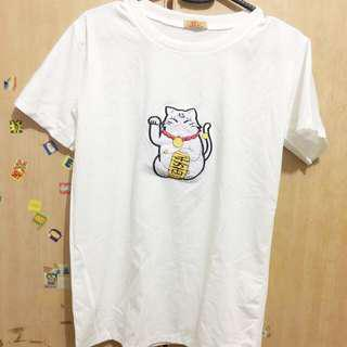 BN Fortune cat white tshirt