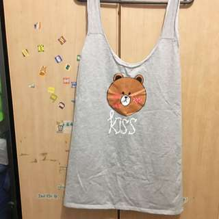 BNWT Brown bear light grey sleeveless top