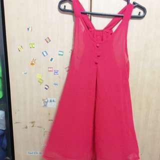 Almost new Red sleeveless back ribbon top