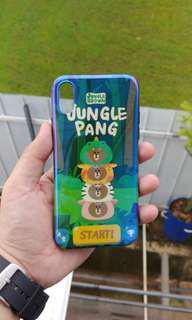 iPhone Xs X Line Brown Zoo Safari Jungle Animals Cover Case