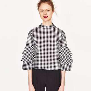 Authentic Zara Gingham Puff Sleeve Top