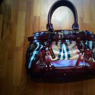 Burberry Bag, Authentic, Very Good Condition. Brown Leather With Checked Fabric