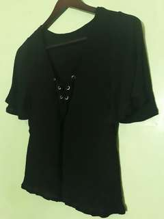 Black Bell Short Sleeves Top