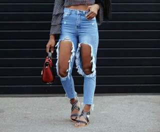 Shop Copper Ripped Jeans