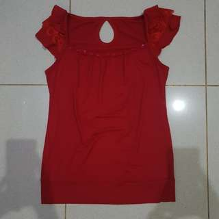 reprice RED BEADS LACE TOP