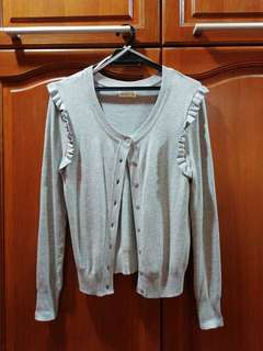 Cotton on grey ruffle cardigan