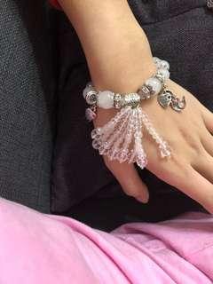 白玉+白水晶手鍊