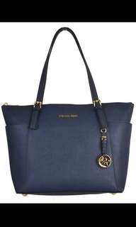 Michael Kors Saffiano Top Zip Tote (Navy)