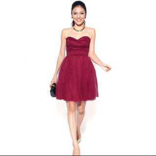 BNWT Love bonito burgundy tube dress