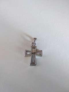 純銀鋯石 蘇聯石 吊咀 墜飾 十字架 925 silver pendant cross