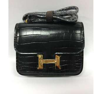 House of Hello Constance Palm Print Bag Small Black