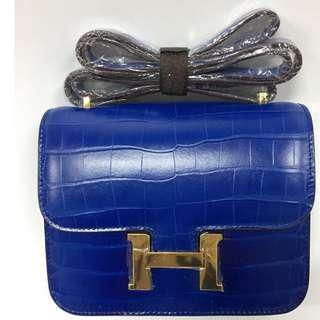 House of Hello Constance Palm Print Bag Small Navy Blue