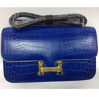 House of Hello Constance Palm Print Bag Large Navy Blue