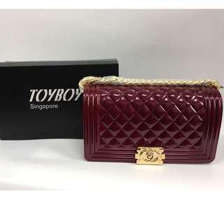 Authentic Toyboy Jelly Pearl 25cm Lady Bag Medium with Stainless Steel Bag Chain Stripe RedWine