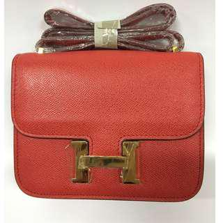 House of Hello Constance Palm Print Bag Small ( Red)