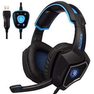 (Free XL size mousepad) SADES Spirit Wolf 7.1 Surround Sound only USB Gaming Headset with mic (Black)