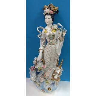 """28"""" Chinese Beauty Carrying A Basket Of Flowers And With Lucky Dragon Statue"""