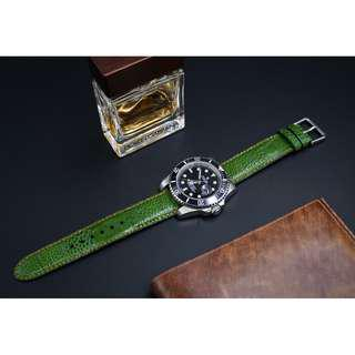 Genuine Green Ostrich Leather Watch Band | 20mm Ostrich Watch Band | 20mm Ostrich Watch Band | Leather Watch Band