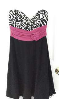 Zebra Print Dress with Pink Tie at Back