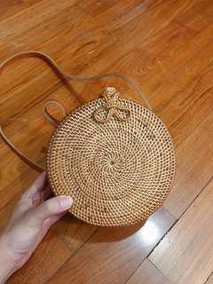 Mini Round Rattan Sling Bag