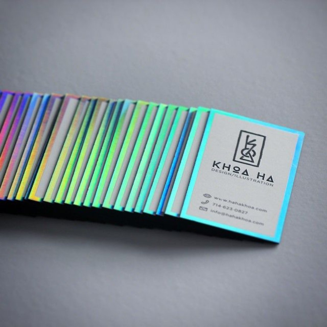 Effect Liquid Foil Holographic Name Card Printing Design Craft Art Prints On Carou