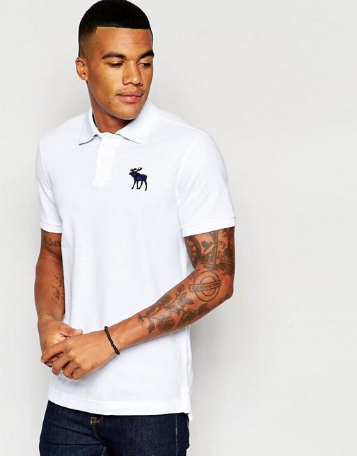 7bbfc8d2 Abercrombie & Fitch White Polo Top, Men's Fashion, Clothes, Tops on ...