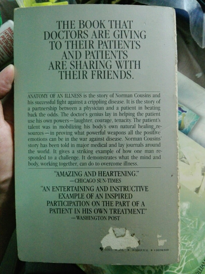 Anatomy of an Illness by Norman Cousins, Books, Books on Carousell
