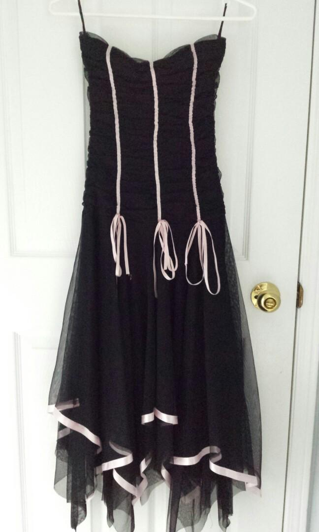 Ankle Length Black Party and Formal Dress with Pink Ribbons