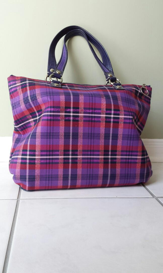 Coach Poppy tartan plaid glam handbag purple muticolour tote