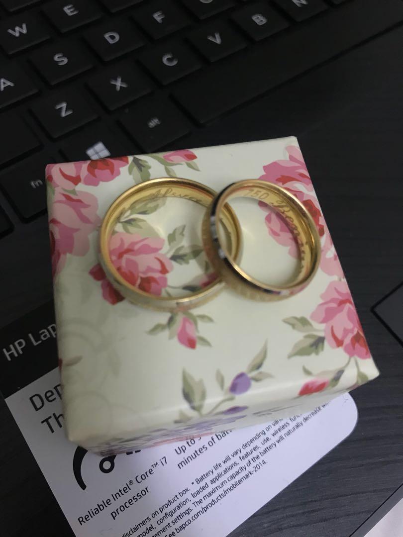 Dubai Gold 18k Two Tone Gold Couple Ring, Women's Fashion