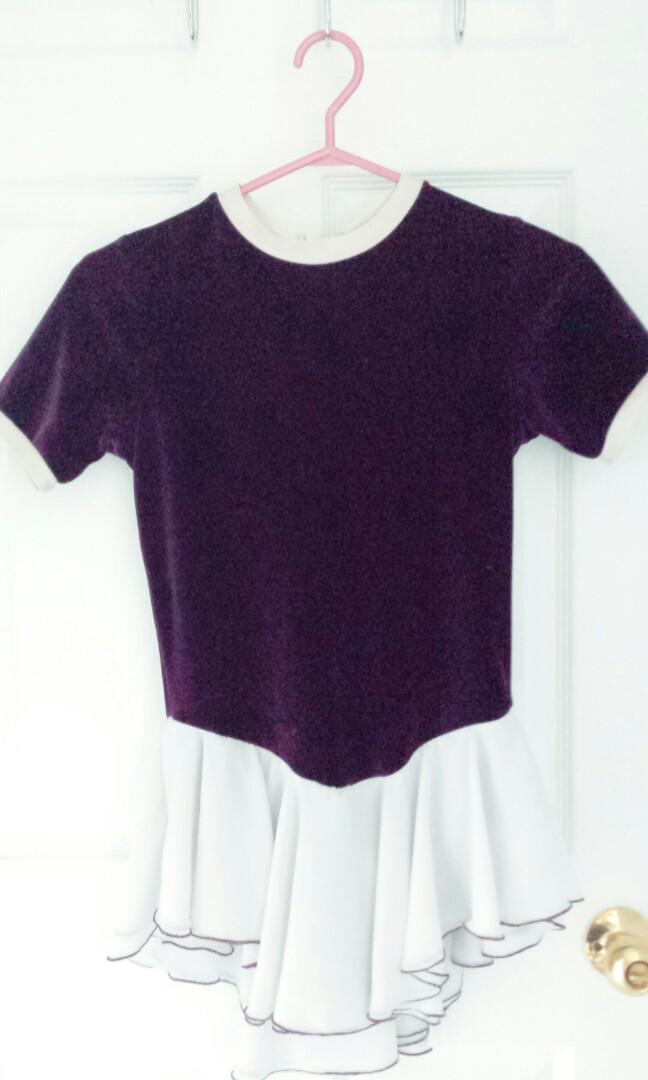 Figure Skating Dress Short Sleeve in Purple and White