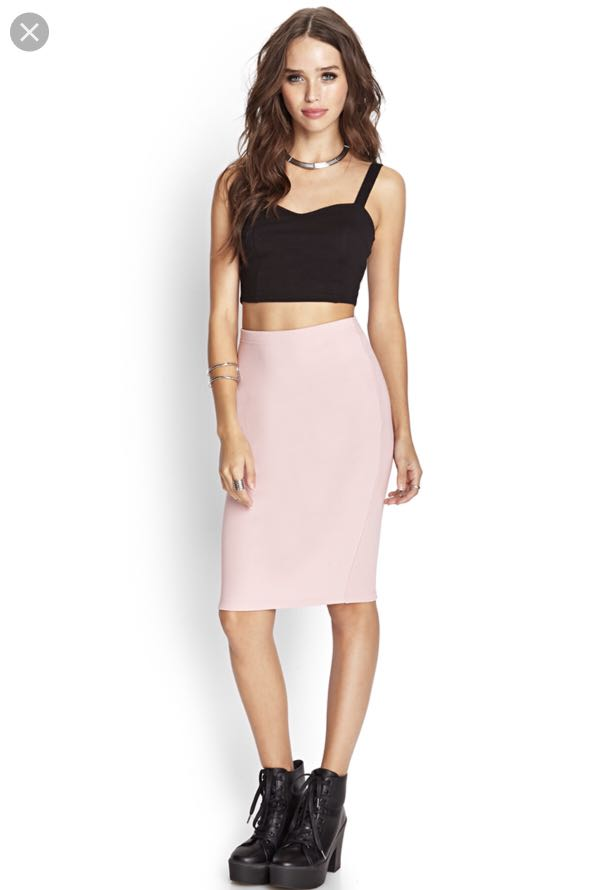 8a0391af8 Forever 21 Ribbed Pencil Skirt (Salmon Pink), Women's Fashion ...