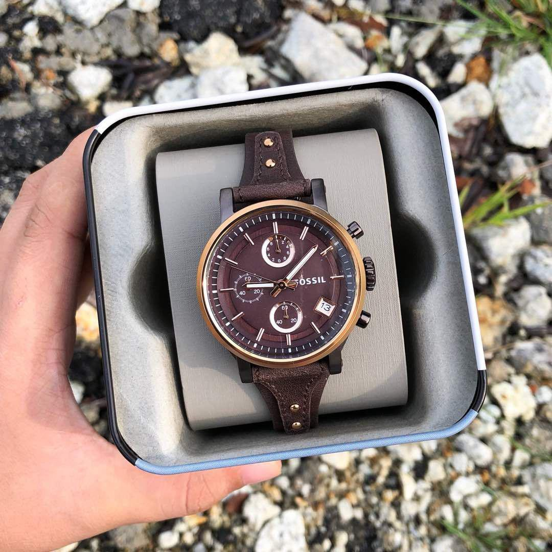 b2269853a31 Fossil ES4286 Boyfriend Chronograph Brown Leather Watch