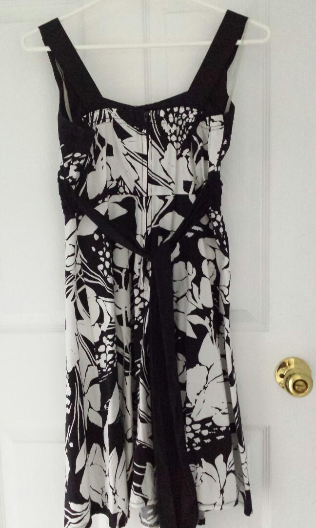 Poet Black and White Summer Dress with Black Tie at Back
