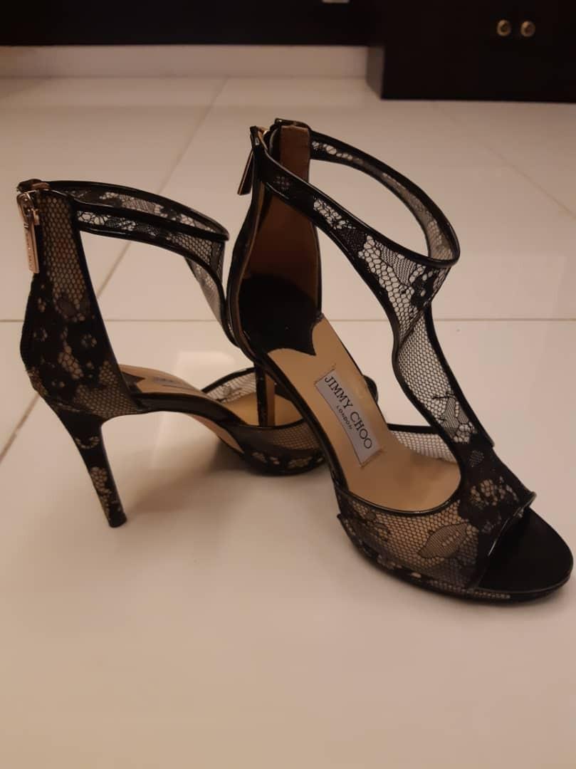 386079022c97 Jimmy Choo T Bar Lana 120 Black Lace High Heels Sandals Like New ...