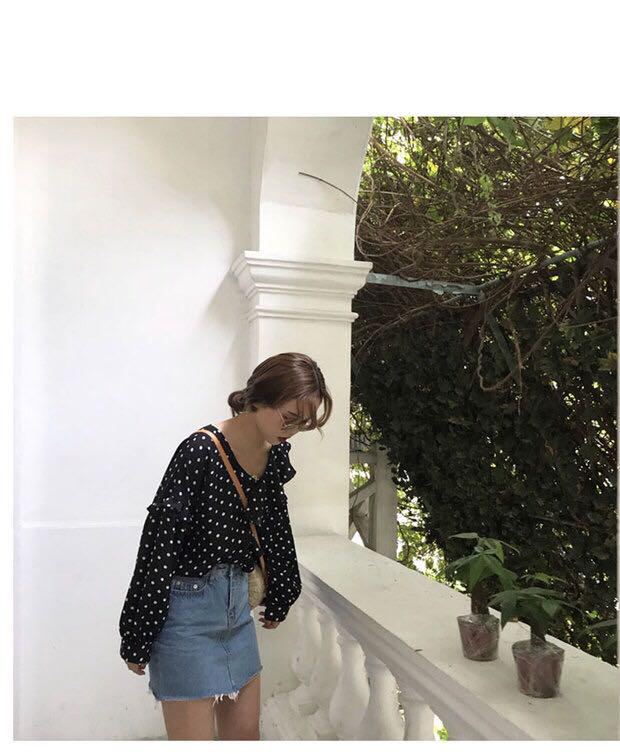 Korean Polka dot Long sleeve Top