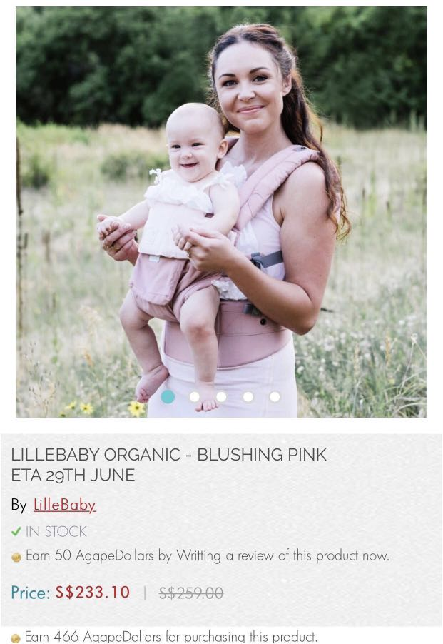 a59e35ab482 LILLEBABY COMPLETE ORGANIC baby carrier - BLUSHING PINK front facing ...